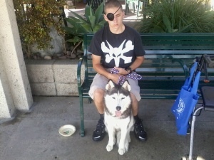 Cole Bent and dog, Piper